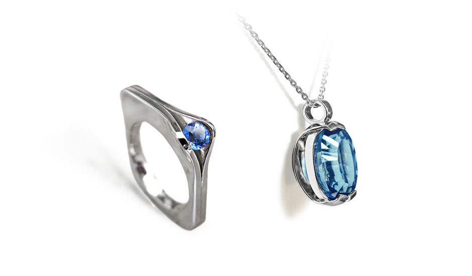 white gold ring pendant sapphire topaz luxury design