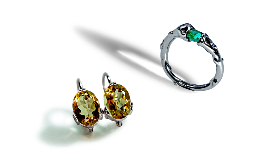 white gold earrings ring natural citrine emerald etsy