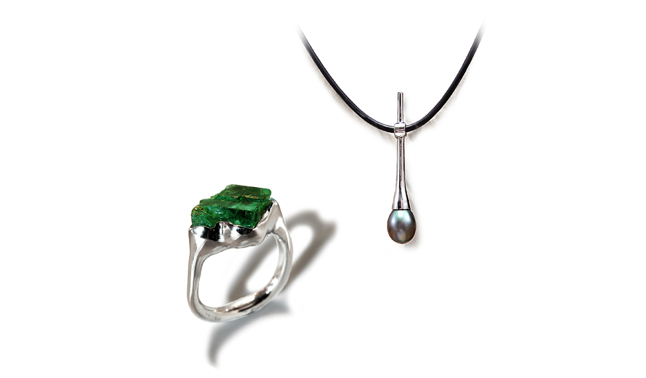 white gold pendant ring rough cut emerald black pearl jewelry