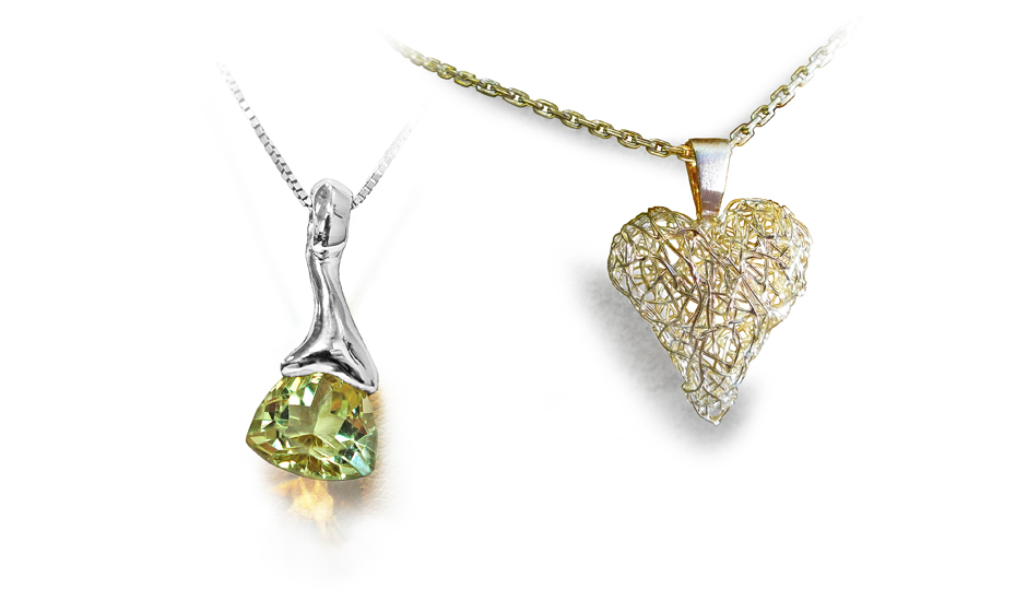 white gold pendant citrine wire hearth different contemporary jewellery