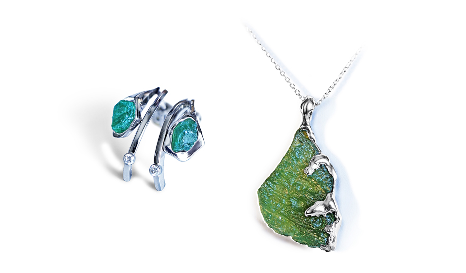 white gold pendant earrings emerald moldavite natural