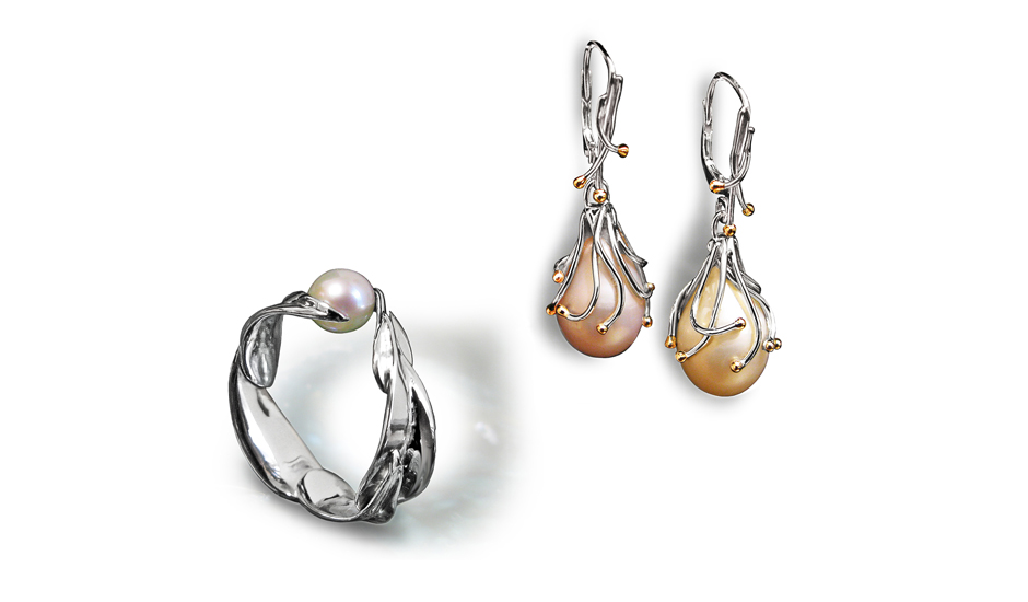 white gold pearl natural ring earring handmade design