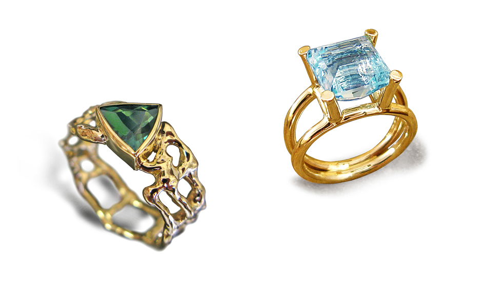 yellow gold rings tourmaline aquamarine natural design etsy